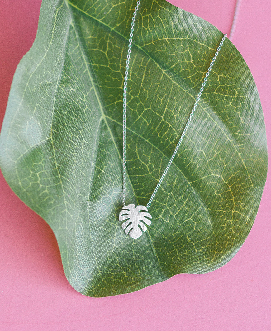 Silver Monstera Leaf Tiny Necklace
