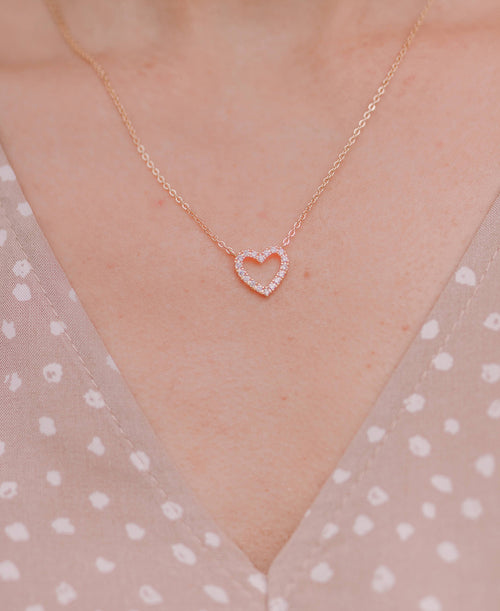 Small Rhinestone Heart Necklace