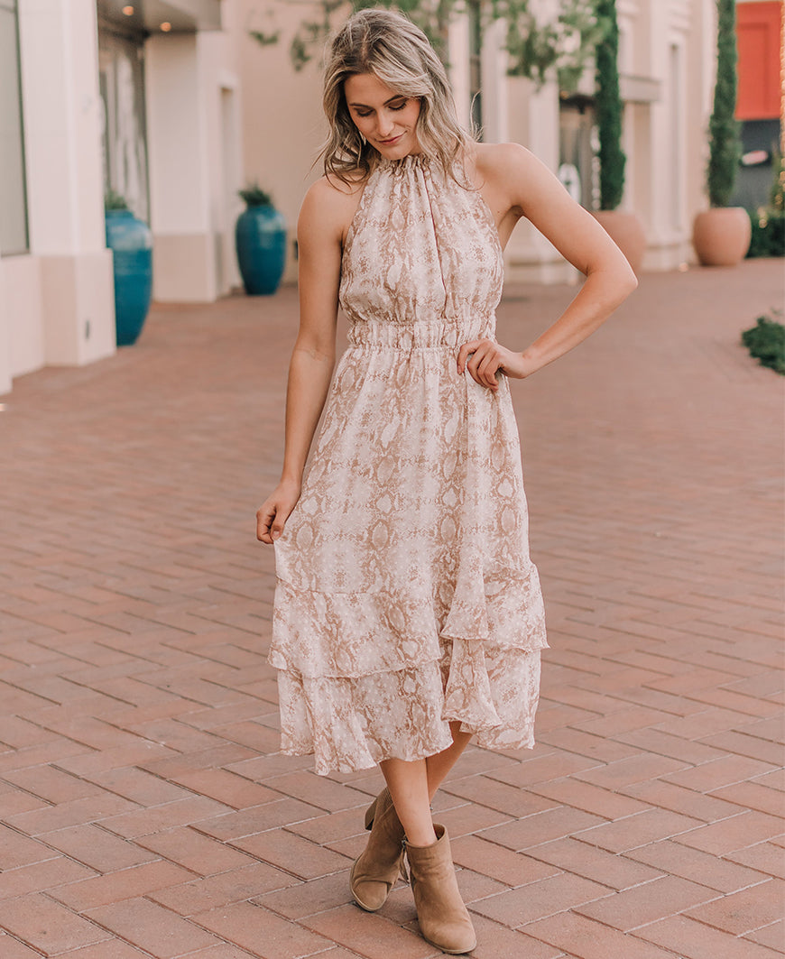 Ivory Snake Print High Neck Midi Dress (FD1313)