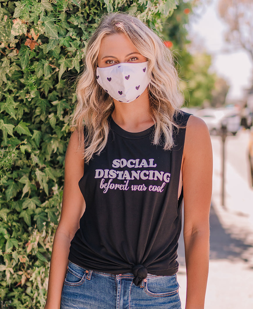 Social Distancing Before It Was Cool Graphic Tank // White Face Mask with Black Hearts
