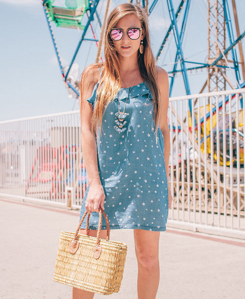 Star Print Chambray Dress