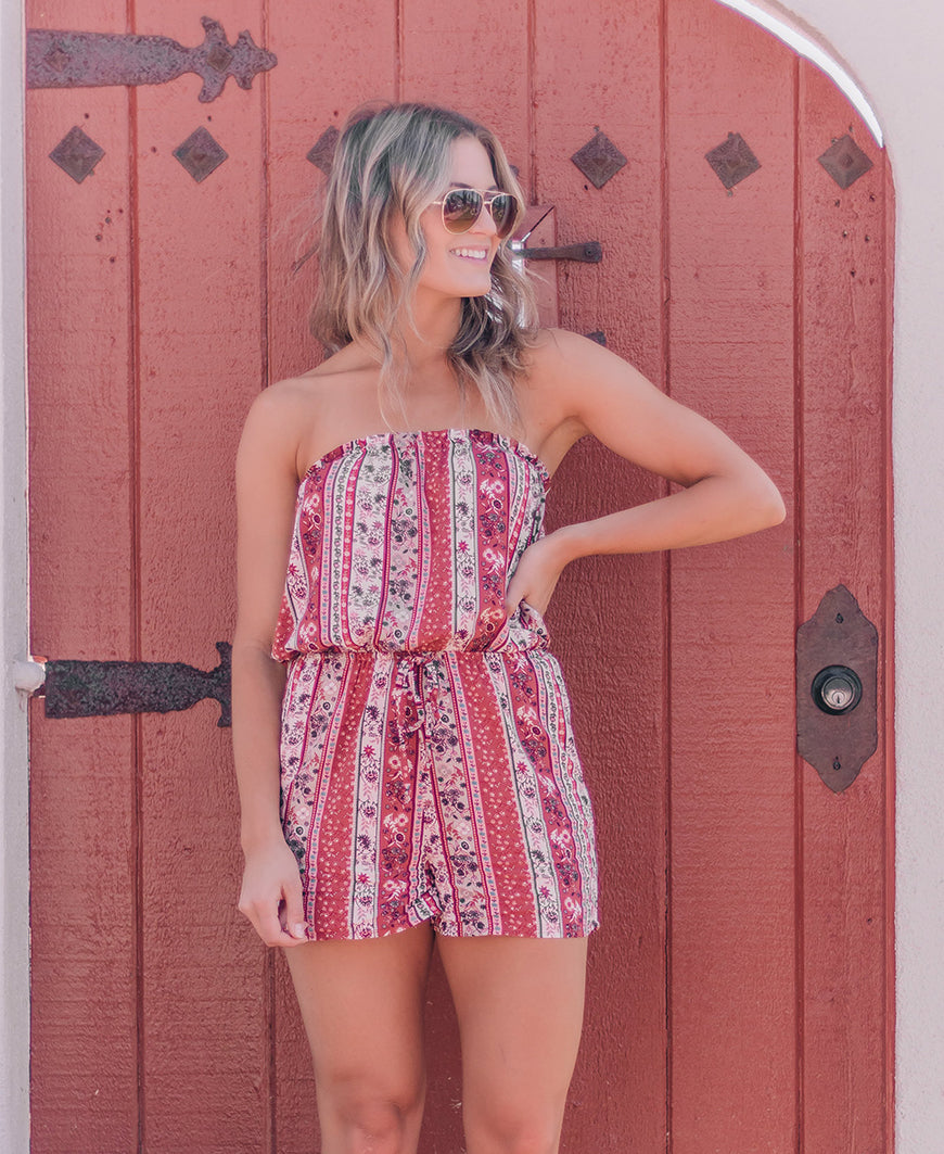 Rust Printed Strapless Romper (90562)