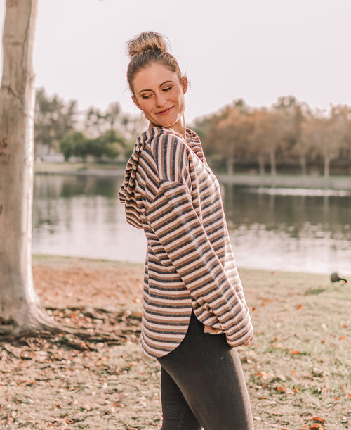 Striped Pullover Hoodie (61775)