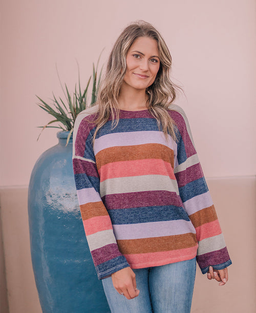 Multicolor Striped Pullover Sweater (11051)
