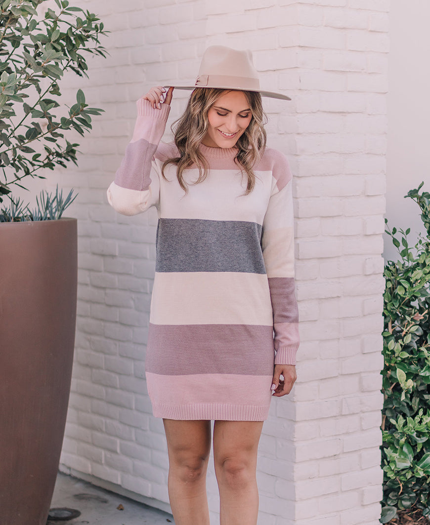 Blush Colorblock Sweater Dress (VD90042)
