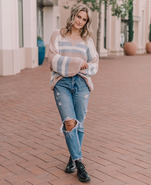 Blush Striped V-Neck Sweater (M9052)
