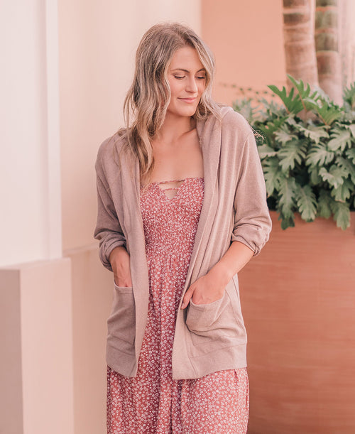 Taupe Long Hooded Cardigan (80260)