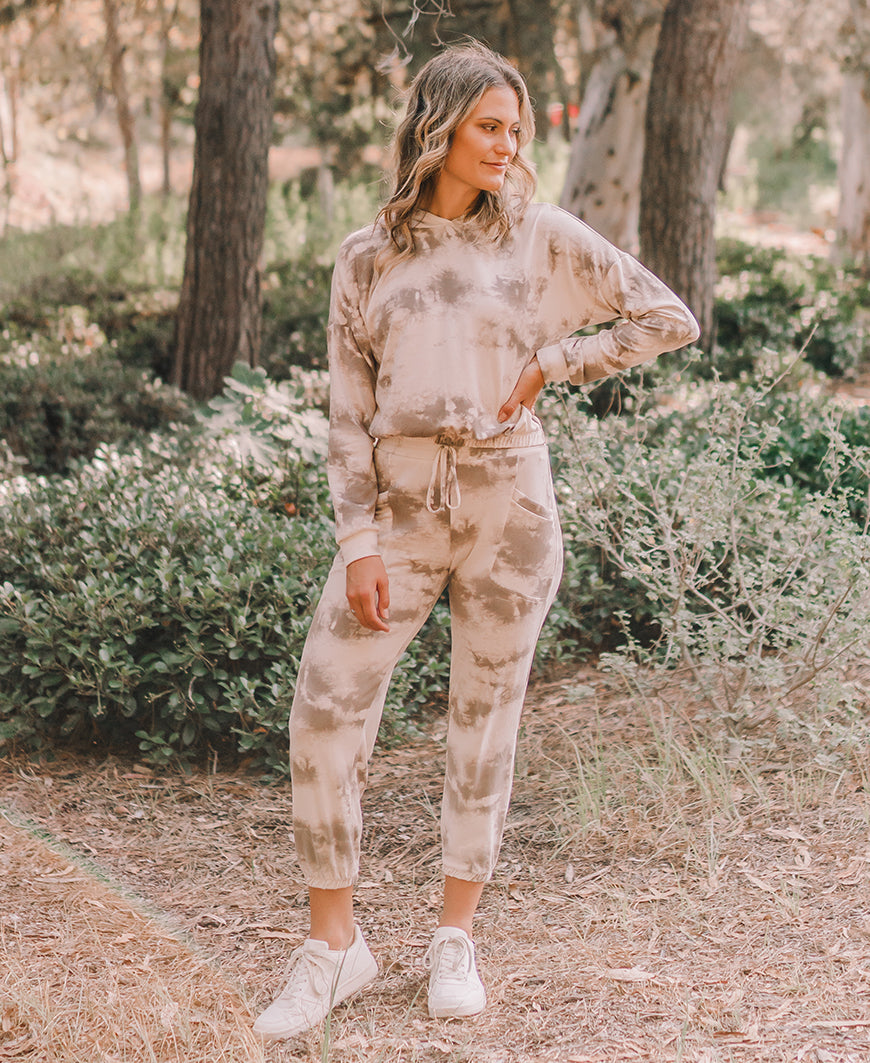 Brown Tie Dye Jogger Sweatpants (P30658-03)