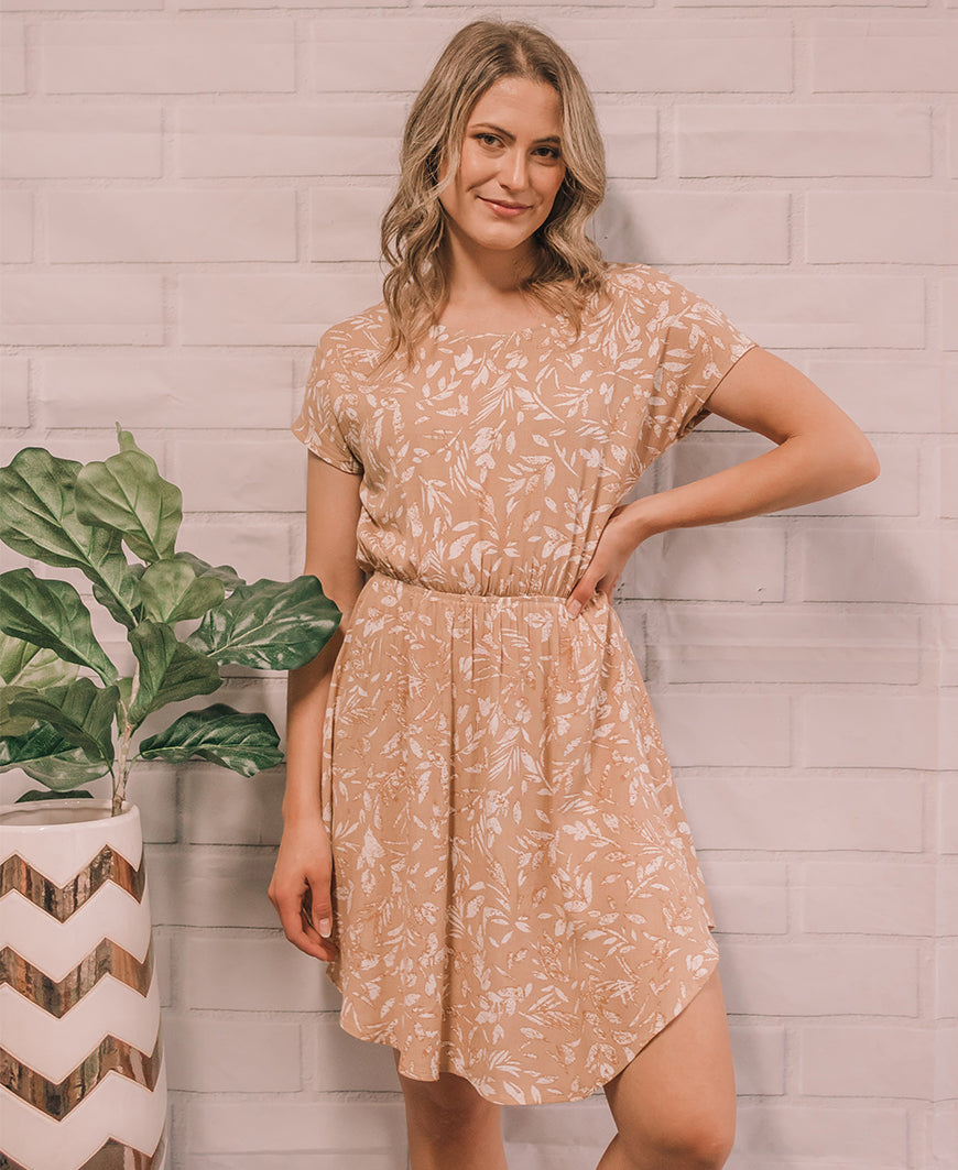 Tan Leaf 'Felicity' Scoop Dress (14873-55)