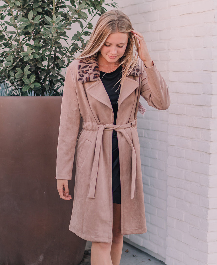 Fur Trim Suede Trench Coat (J97998)