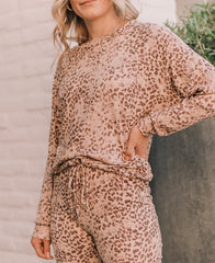 Tan Leopard Drawstring Hem Lounge Top (15328T)