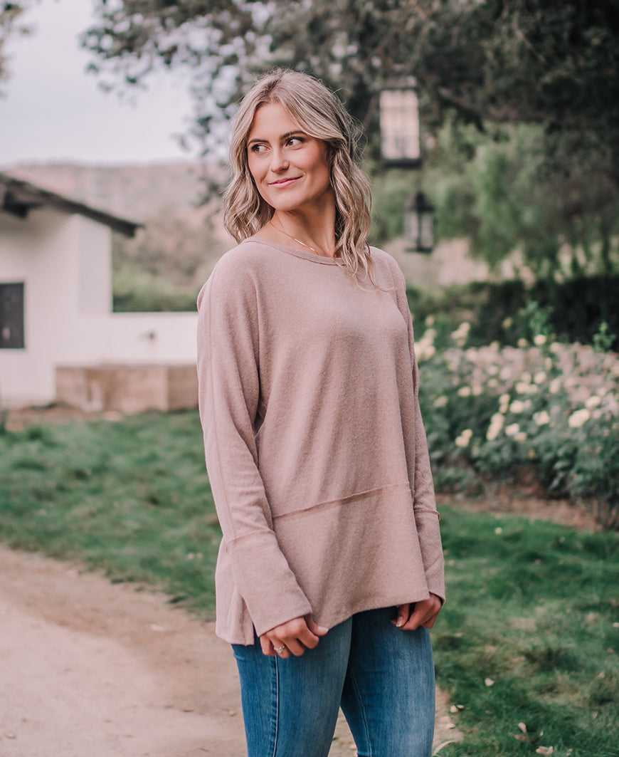 Earthy Taupe Long Sleeve Top (61625)