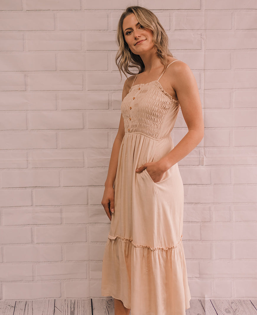 Oatmeal Smocked Maxi Dress (ID3344B-FCI)