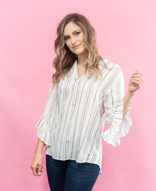 Taupe Stripe Tie Ruffle Sleeve Blouse (LT24450)