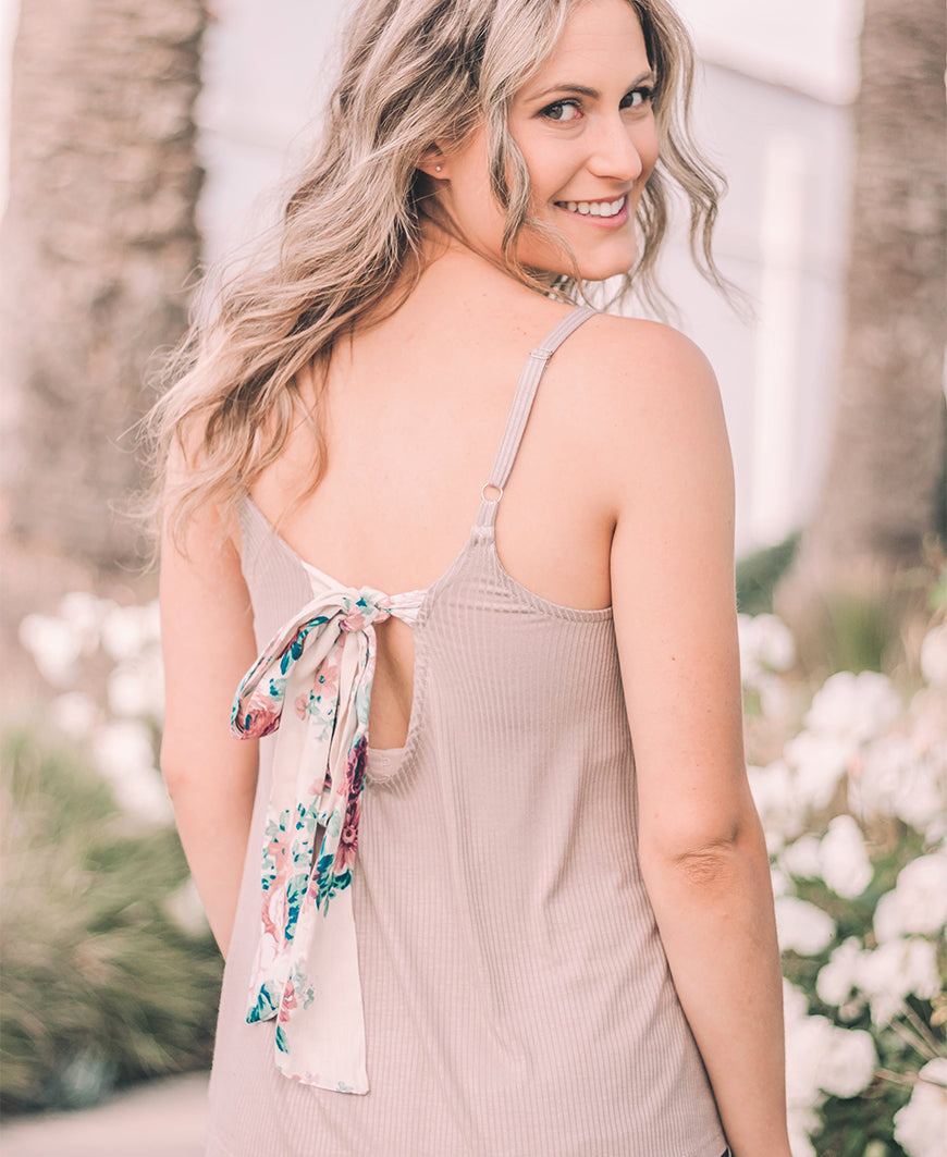 "Taupe & Floral ""Birdie"" Bow Back Cami (14815)"