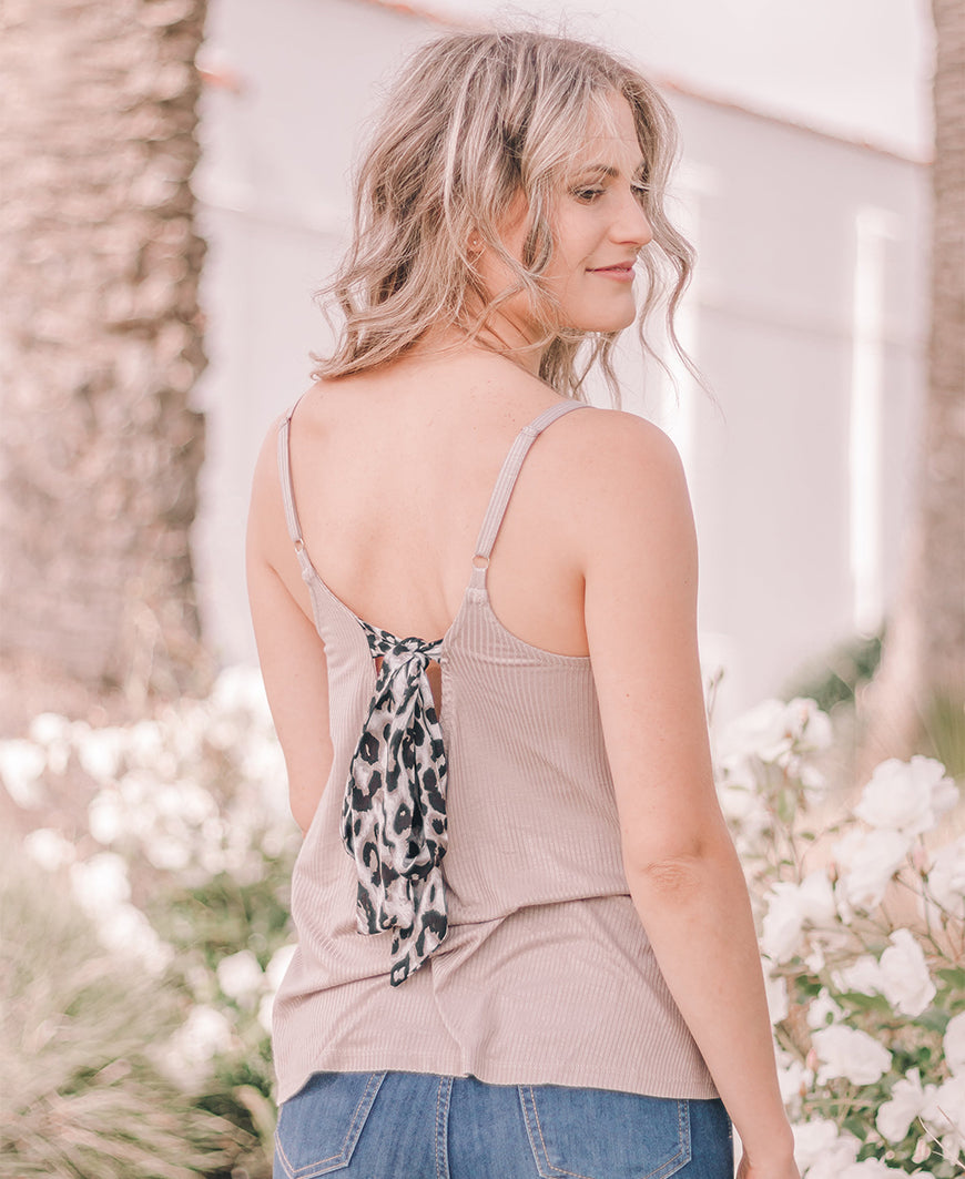"Taupe & Leopard ""Birdie"" Bow Back Cami (14815)"