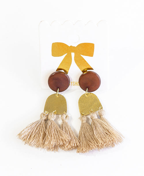 Tan Boho Tassel Earrings