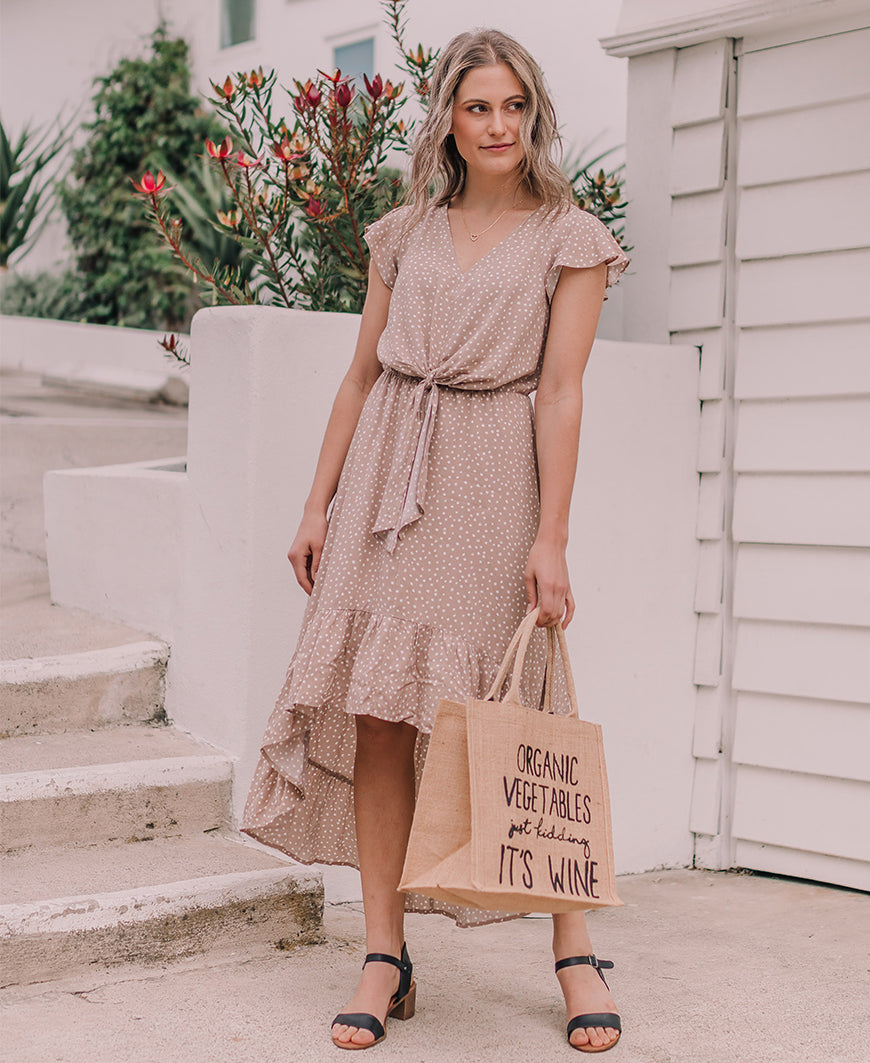 Taupe Polka Dot High-Low Dress (SS3457)