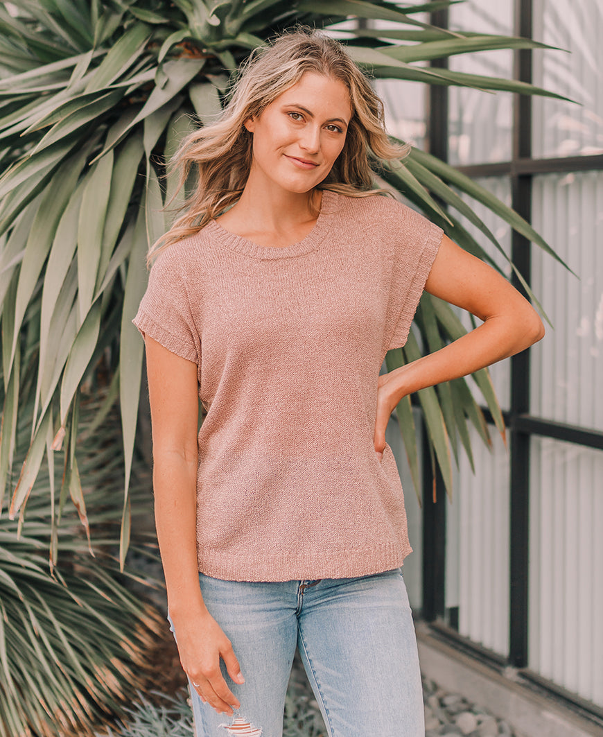 Taupe Lace Up Back Sweater Top (TB5428)