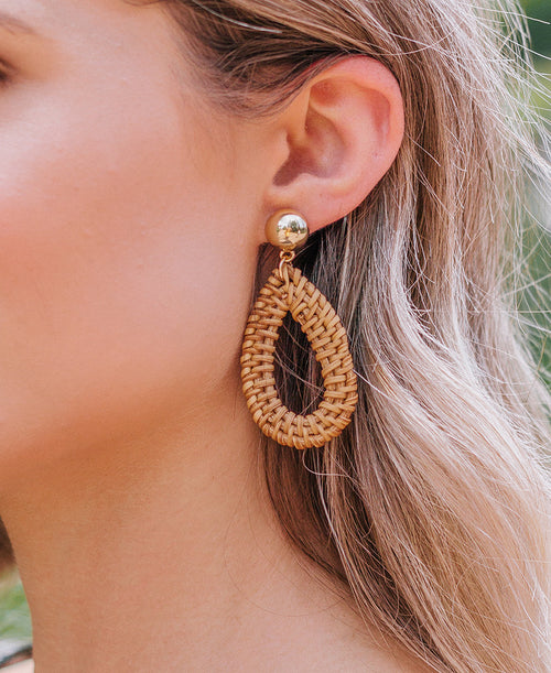 Teardrop Straw Earrings