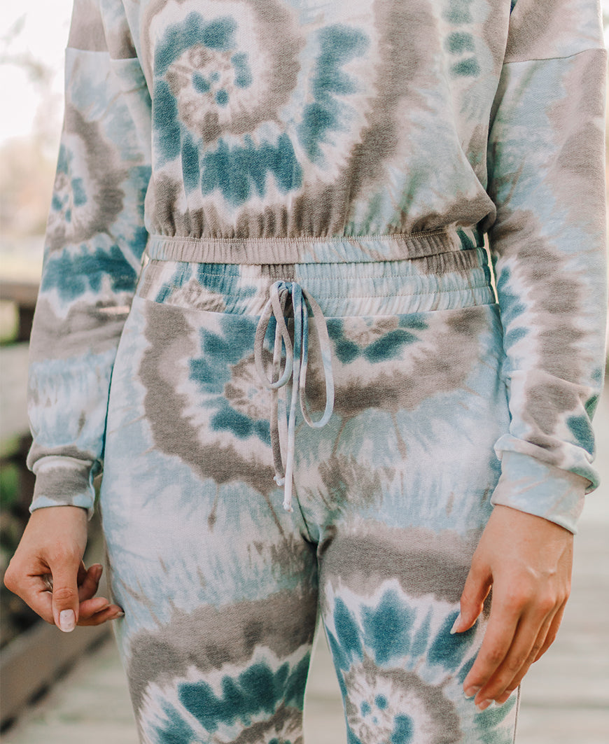 Blue + Taupe Tie Dye Cropped Hoodie (T10677-WC)