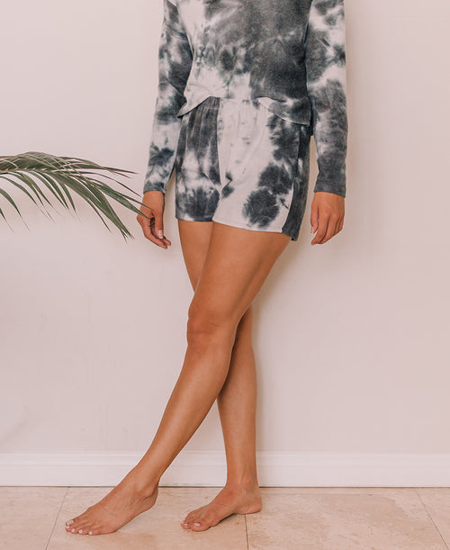 Navy Tie Dye Lounge Shorts (7A1761)