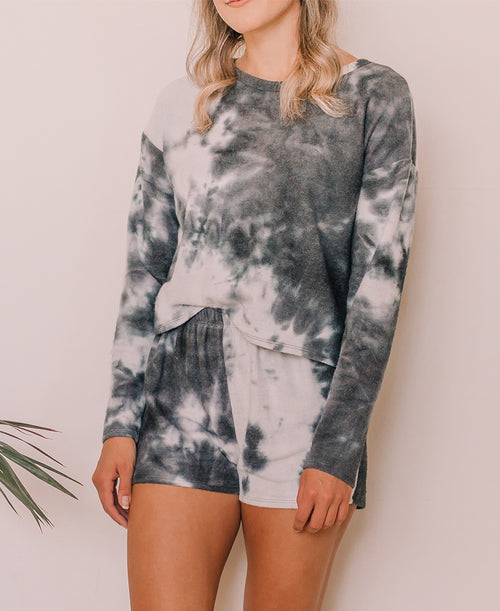 Navy Tie Dye Fleece Long Sleeve (18668)