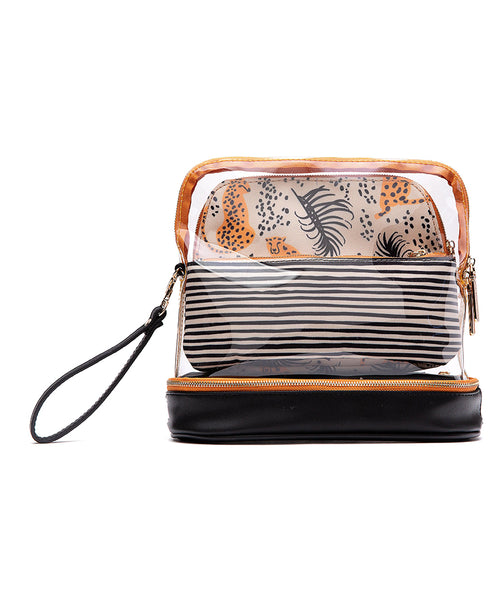 Cheetah Stripes 3-Piece Cosmetic Bag Set (CSM202-0512)