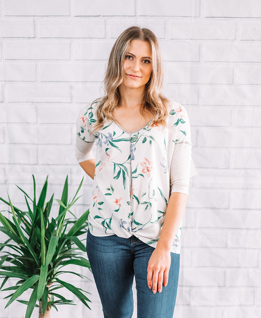 "Natural Tropics ""Hannah"" 3/4 Sleeve Tee (14763-279)"