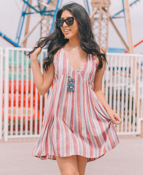 Washed Multicolor Striped Dress