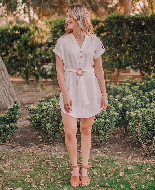 Ivory Belted Shirt Dress (CA1123)