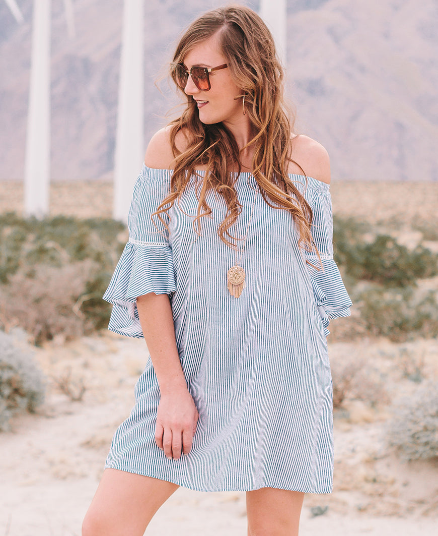 White & Blue Striped Off-the-Shoulder Dress