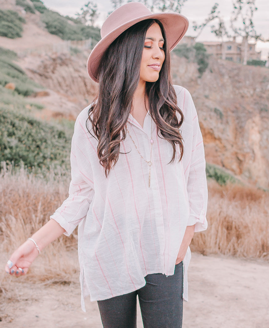 White & Mauve Roll Sleeve Oversized Button Up Top