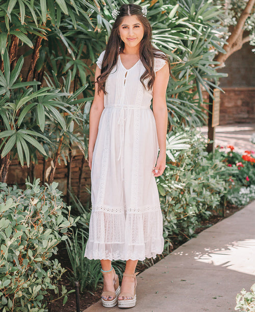 White Button Up Lace Detail Maxi Dress