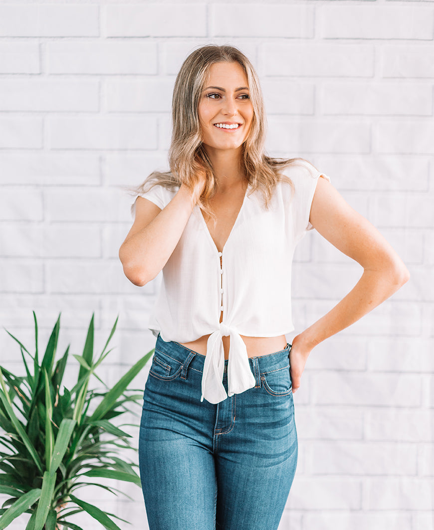 Ivory Button Down Crop Top (16967)