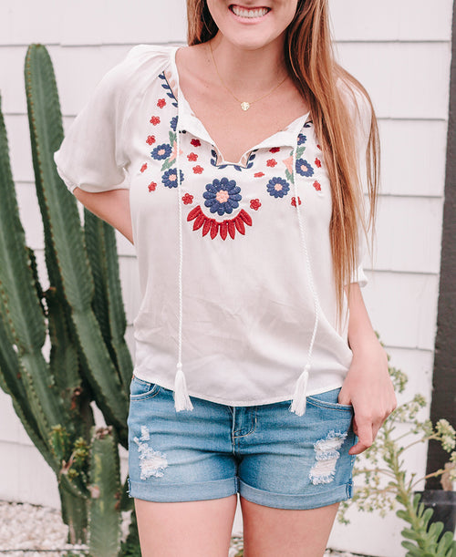 White Embroidered 3/4 Sleeve Blouse