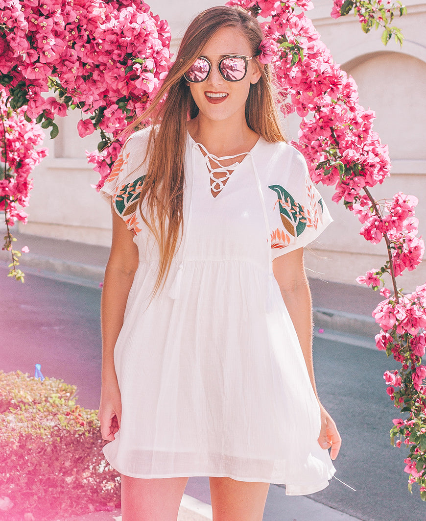 White Tropical Embroidered Lace Up Dress