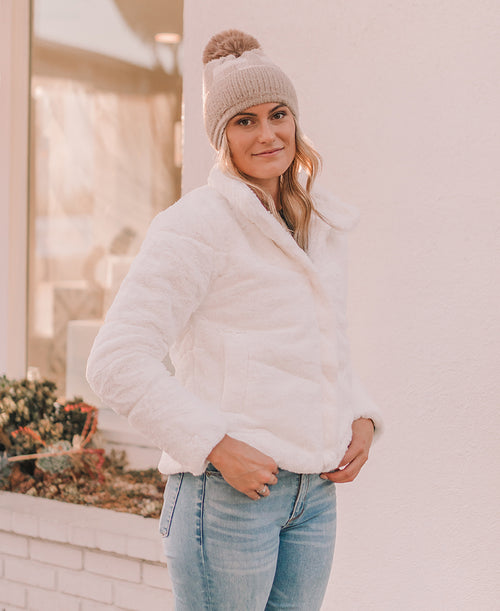 Ivory Quilted Faux Fur Jacket (72967)