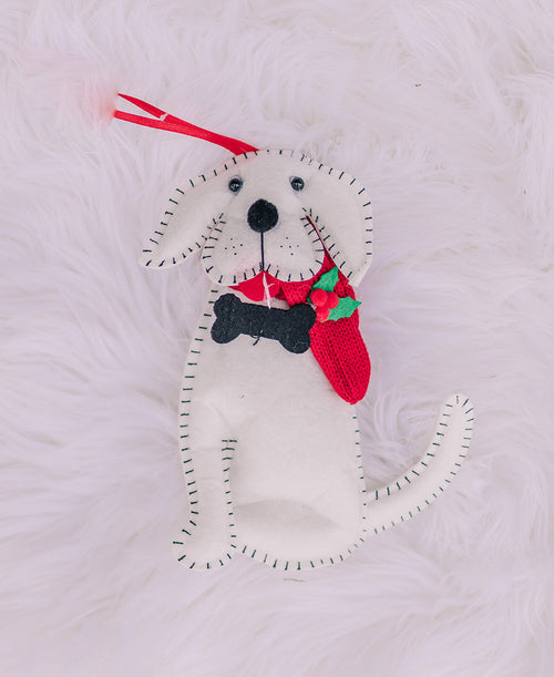 White Felt Dog Ornament (3916457)