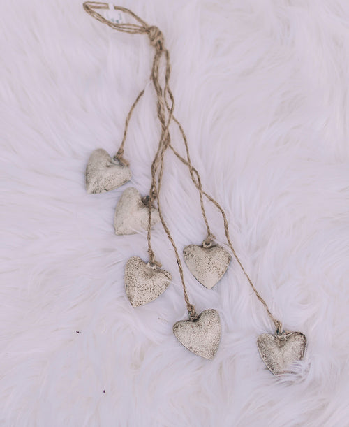 Ivory Hearts Dangle Ornament (2020190588)