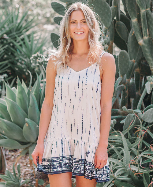 White & Indigo Tie Dye Dress