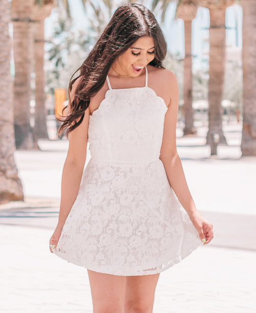White Lace High Neck Scalloped Dress