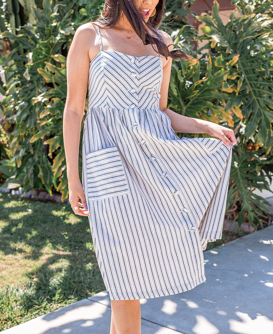 White & Black Striped Cotton Dress