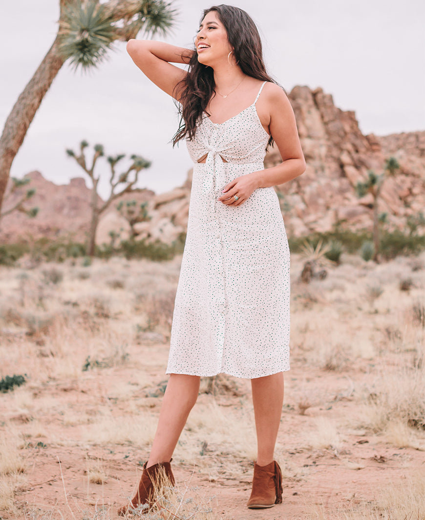 White Polka Dot Tie Front Dress