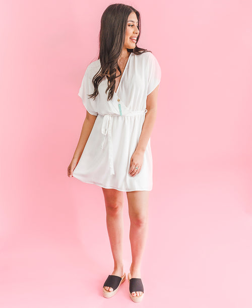 White Short Sleeve Wrap Dress