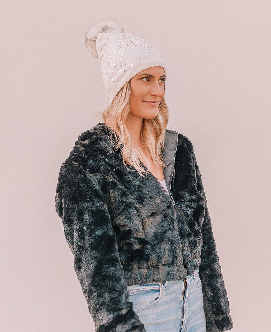 White Sequin Fleece Lined Beanie (MMQ7006)