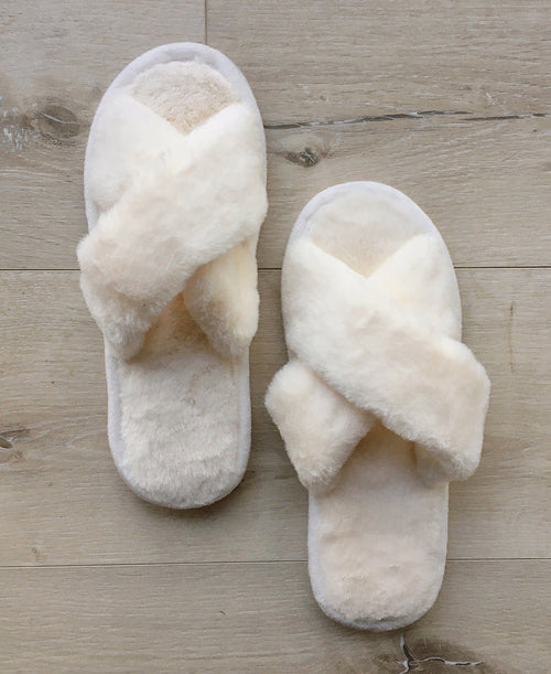white ivory faux fur plush criss cross crossband slippers house shoes work from home cozy warm footwear