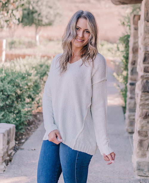 Ivory V-Neck Pullover Sweater (52346)
