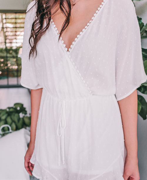 White Swiss Dot Surplice Romper