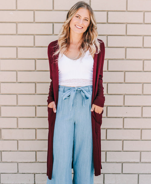Wine Long Cardigan